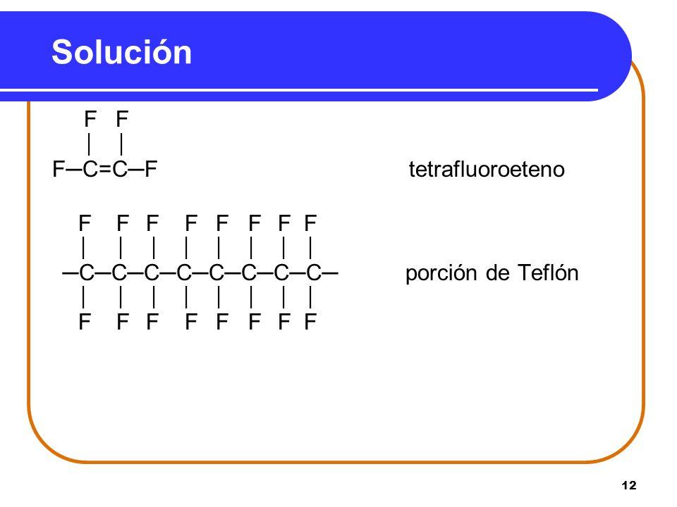 Solución F─C=C─F tetrafluoroeteno F F │ │ F F F F F F F F