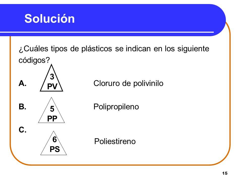 Solución ¿Cuáles tipos de plásticos se indican en los siguiente