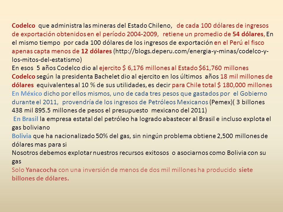 Codelco que administra las mineras del Estado Chileno, de cada 100 dólares de ingresos de exportación obtenidos en el período 2004-2009, retiene un promedio de 54 dólares, En el mismo tiempo por cada 100 dólares de los ingresos de exportación en el Perú el fisco apenas capta menos de 12 dólares (http://blogs.deperu.com/energia-y-minas/codelco-y-los-mitos-del-estatismo)
