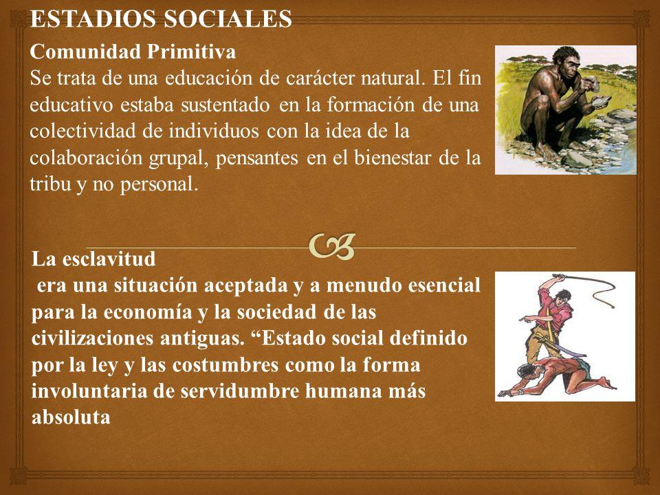 ESTADIOS SOCIALES Comunidad Primitiva