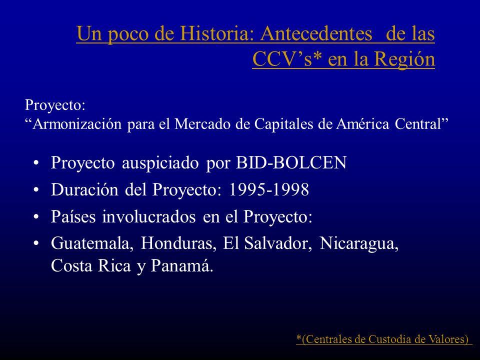 Un poco de Historia: Antecedentes de las CCV's* en la Región