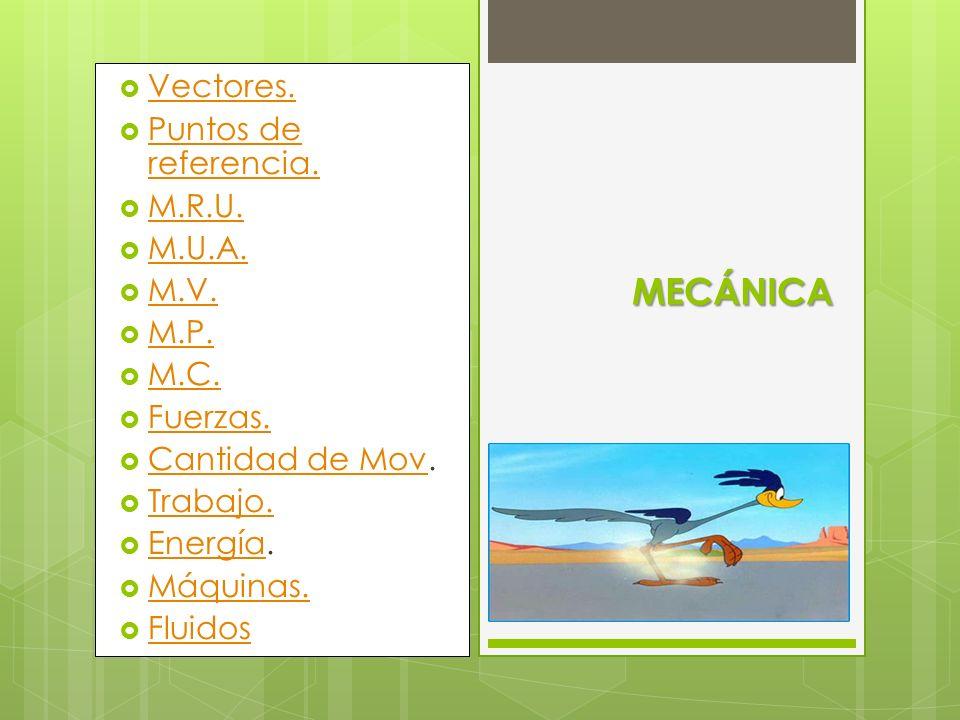 MECÁNICA Vectores. Puntos de referencia. M.R.U. M.U.A. M.V. M.P. M.C.