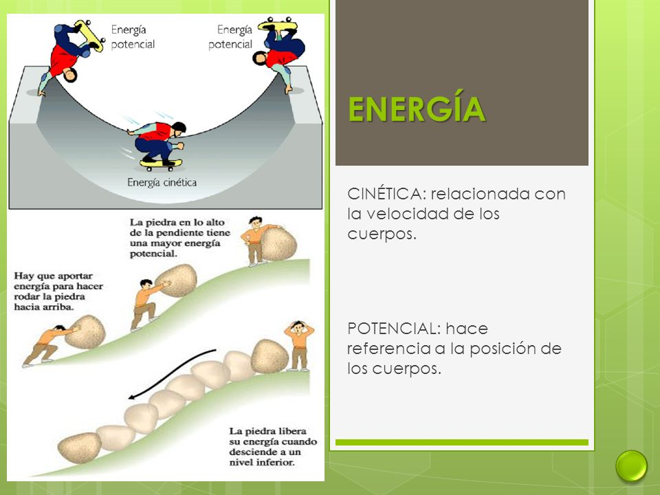 ENERGÍA CINÉTICA: relacionada con la velocidad de los cuerpos.