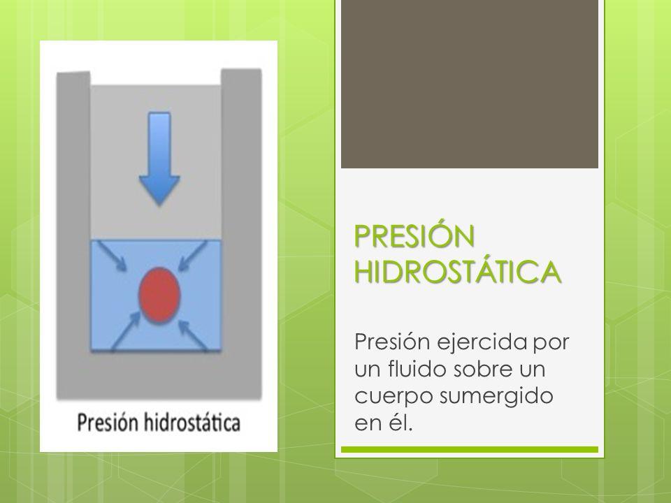 Presión ejercida por un fluido sobre un cuerpo sumergido en él.