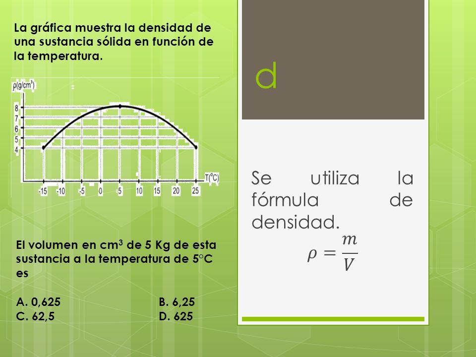 Se utiliza la fórmula de densidad. 𝜌= 𝑚 𝑉