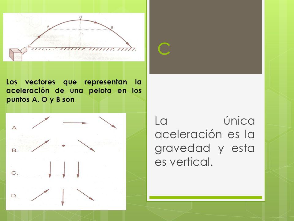 La única aceleración es la gravedad y esta es vertical.