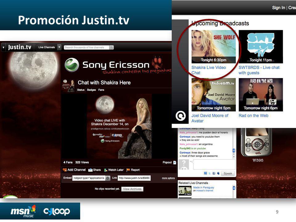 Promoción Justin.tv