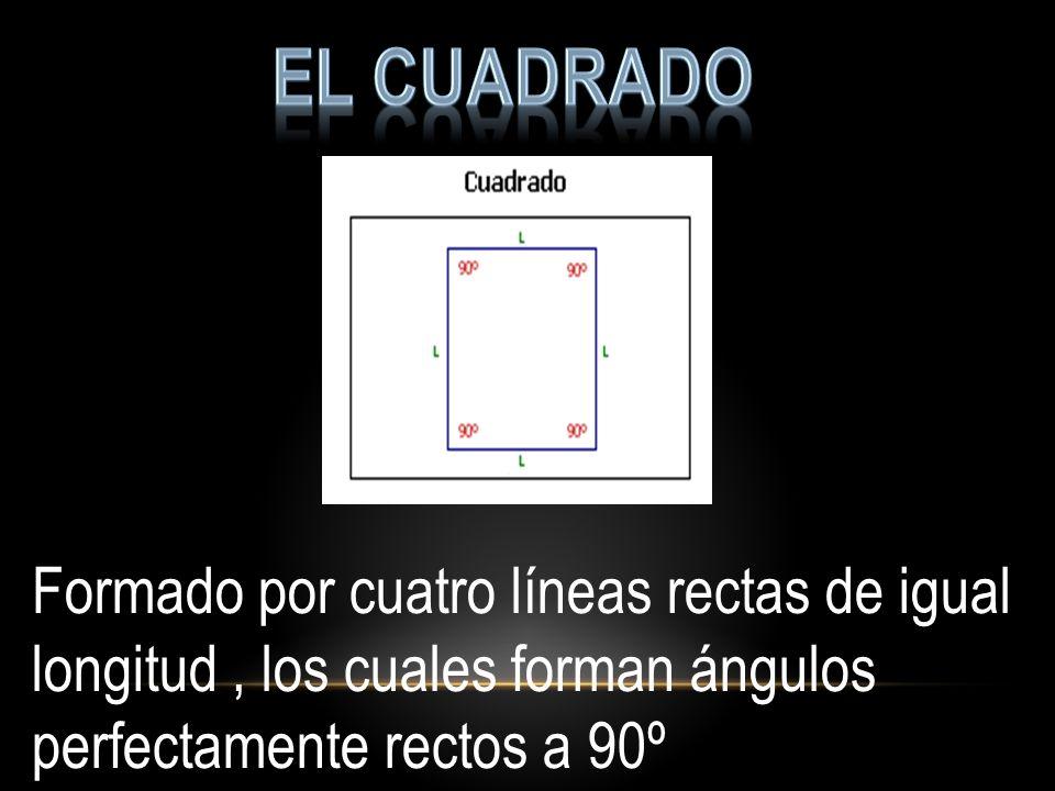 El cuadrado Formado por cuatro líneas rectas de igual longitud , los cuales forman ángulos perfectamente rectos a 90º.