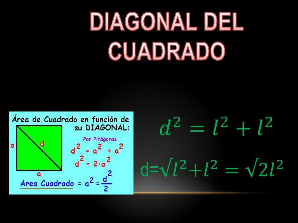 DIAGONAL DEL CUADRADO 𝑑 2 = 𝑙 2 + 𝑙 2 d= √𝑙 2 + 𝑙 2 =√ 2𝑙 2