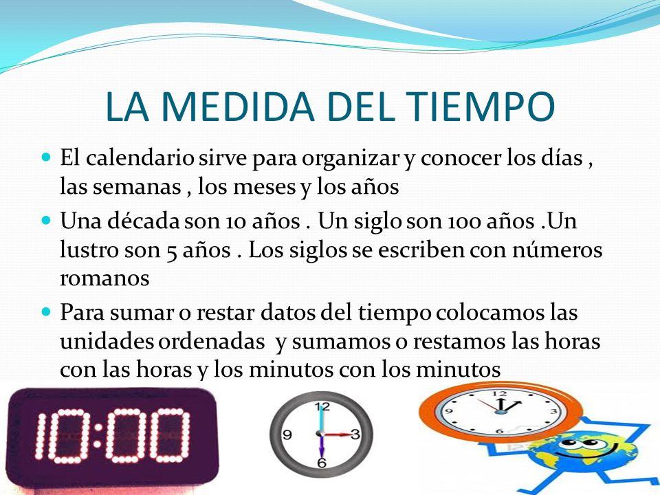 LA MEDIDA DEL TIEMPO El calendario sirve para organizar y conocer los días , las semanas , los meses y los años.