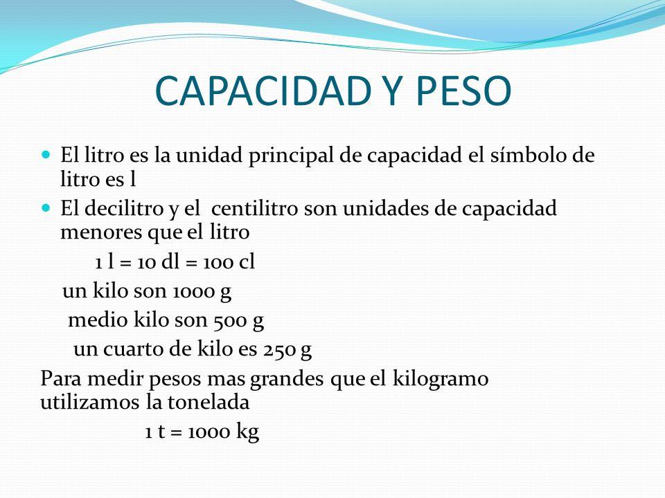 CAPACIDAD Y PESO El litro es la unidad principal de capacidad el símbolo de litro es l.