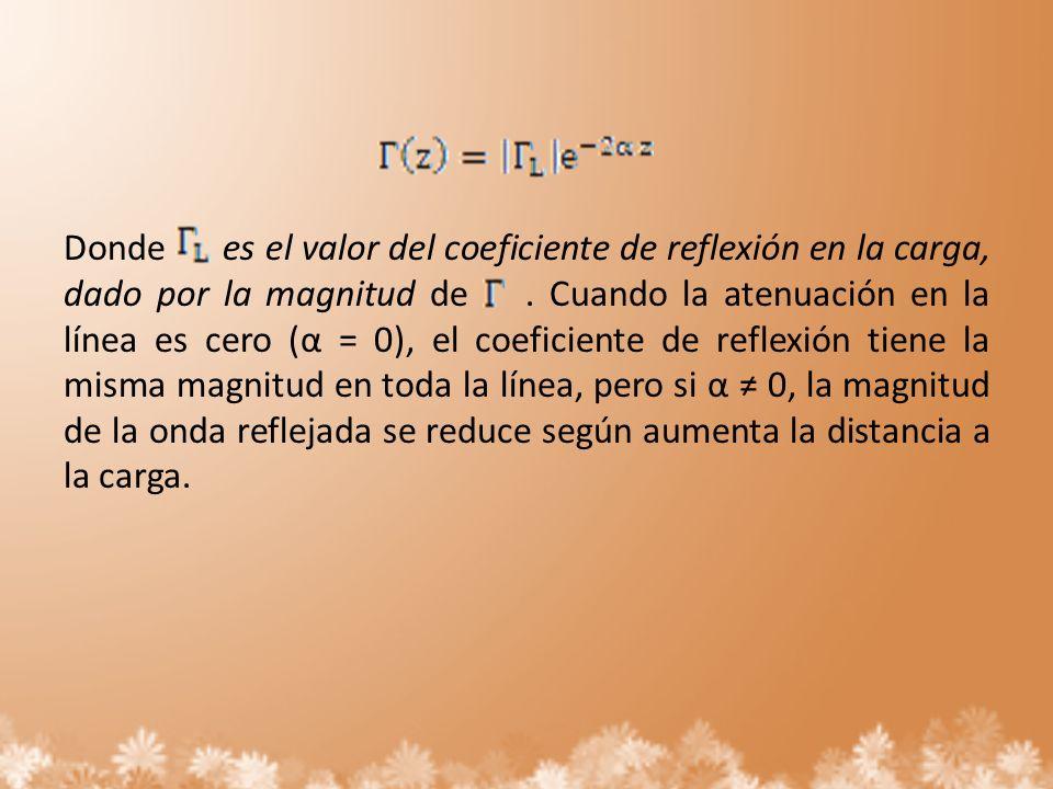 Donde es el valor del coeficiente de reflexión en la carga, dado por la magnitud de .