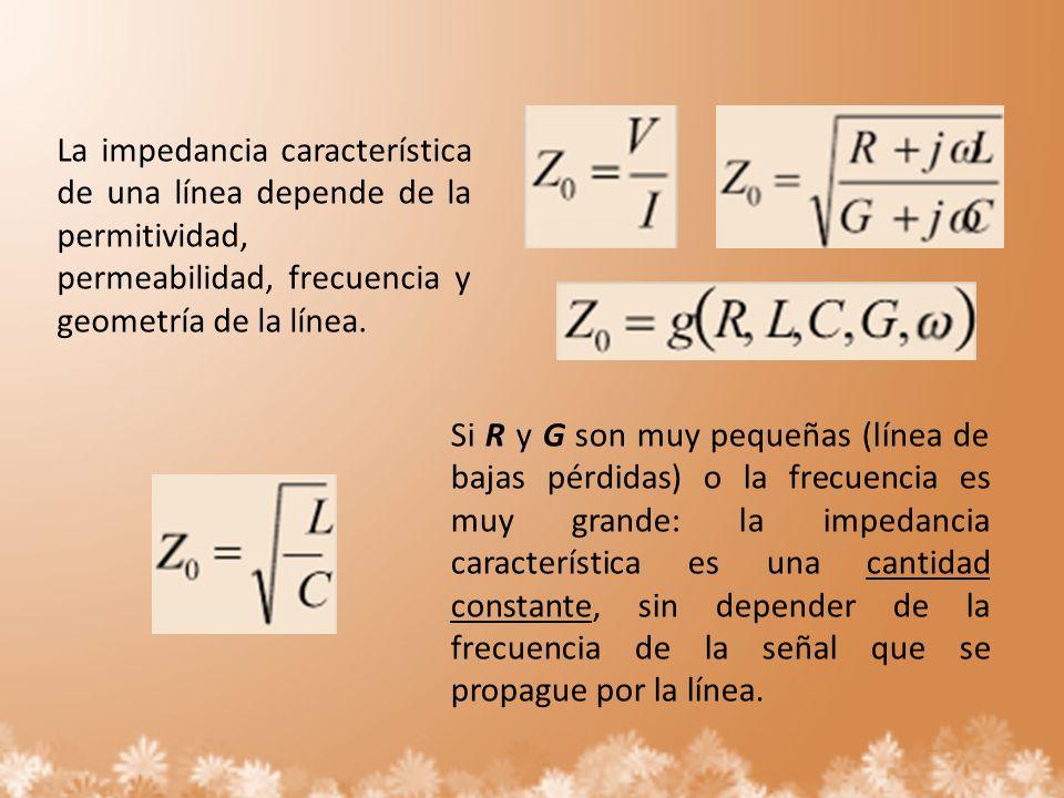 La impedancia característica de una línea depende de la permitividad, permeabilidad, frecuencia y geometría de la línea.