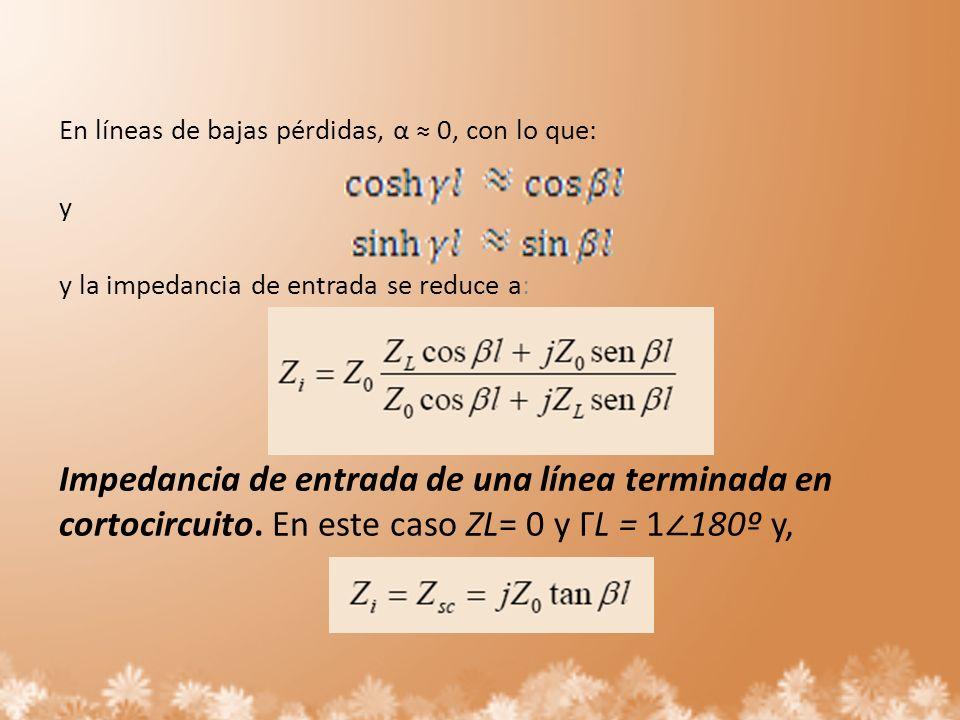 En líneas de bajas pérdidas, α ≈ 0, con lo que: