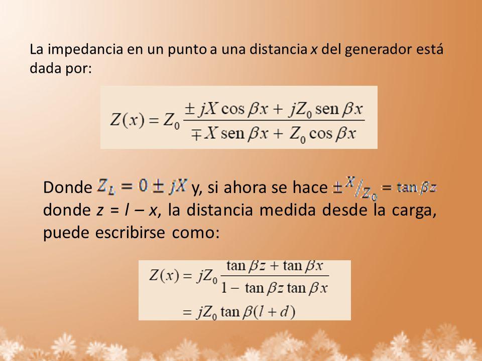 La impedancia en un punto a una distancia x del generador está dada por: