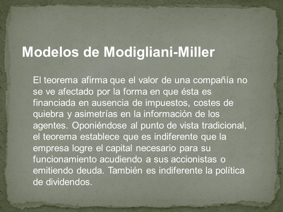 Modelos de Modigliani-Miller