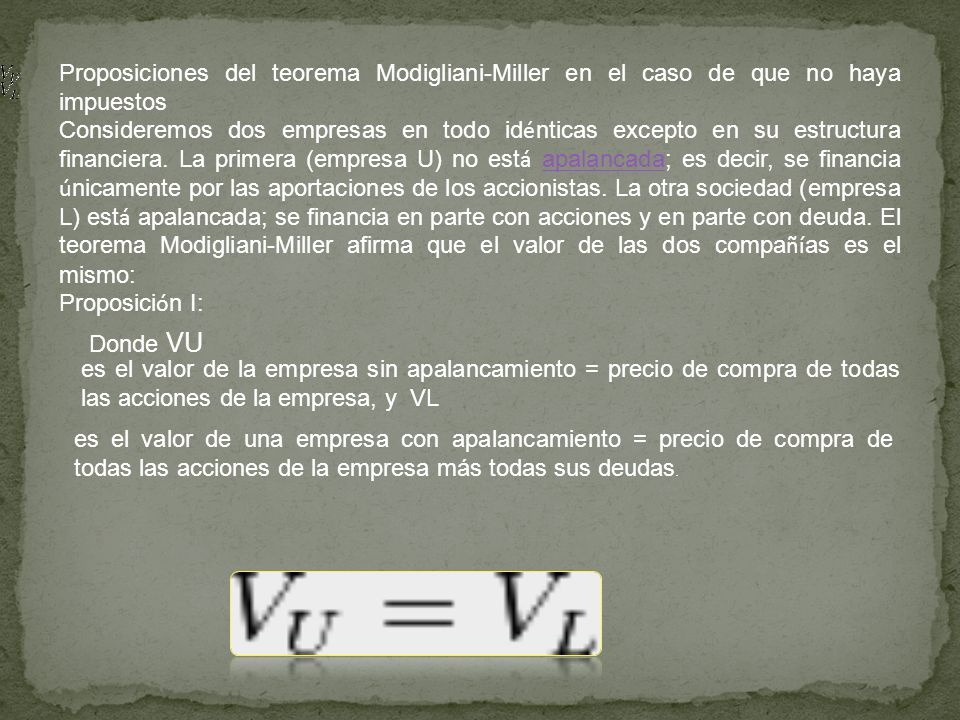 Proposiciones del teorema Modigliani-Miller en el caso de que no haya impuestos