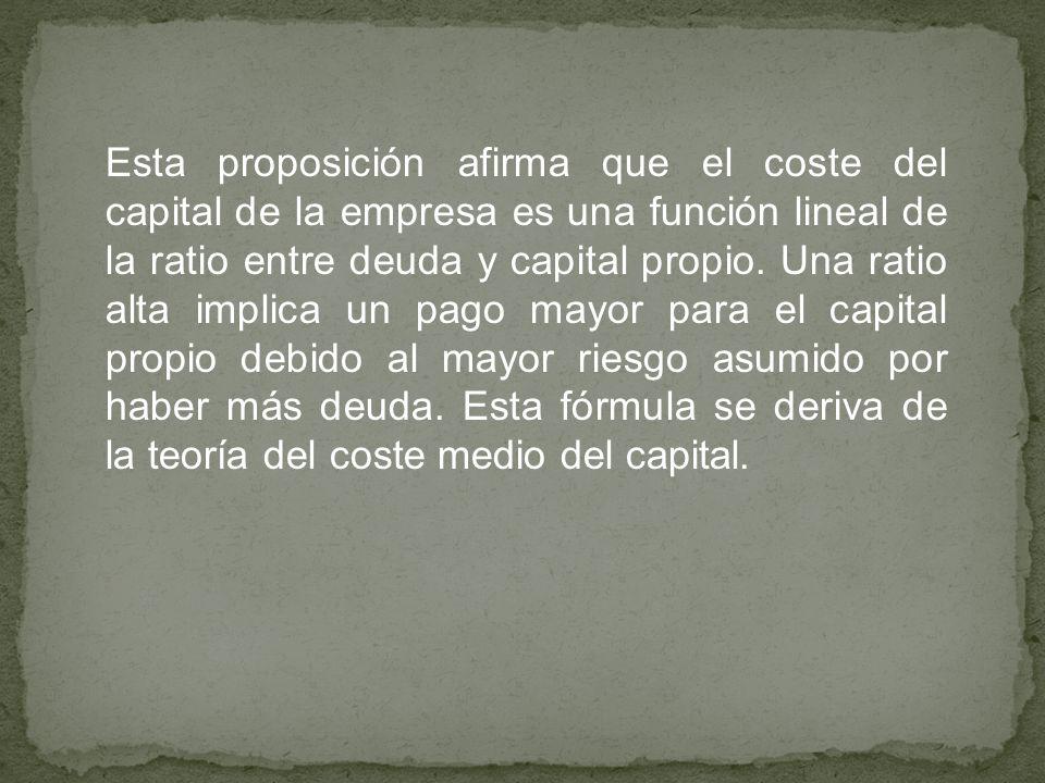 Esta proposición afirma que el coste del capital de la empresa es una función lineal de la ratio entre deuda y capital propio.