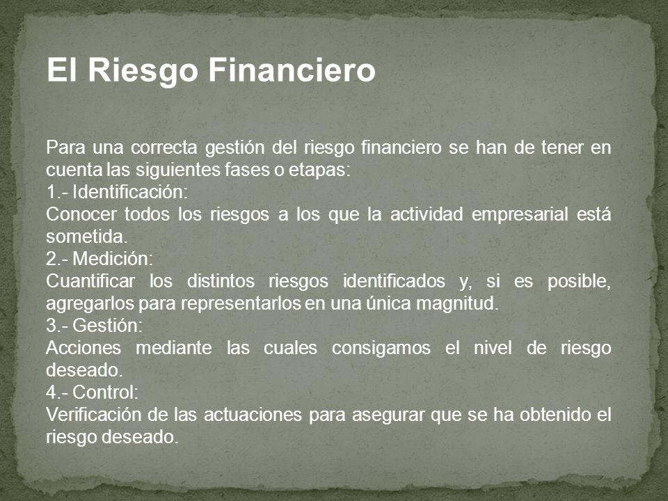 El Riesgo Financiero Para una correcta gestión del riesgo financiero se han de tener en cuenta las siguientes fases o etapas: