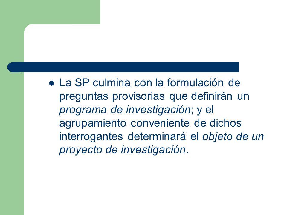 La SP culmina con la formulación de preguntas provisorias que definirán un programa de investigación; y el agrupamiento conveniente de dichos interrogantes determinará el objeto de un proyecto de investigación.