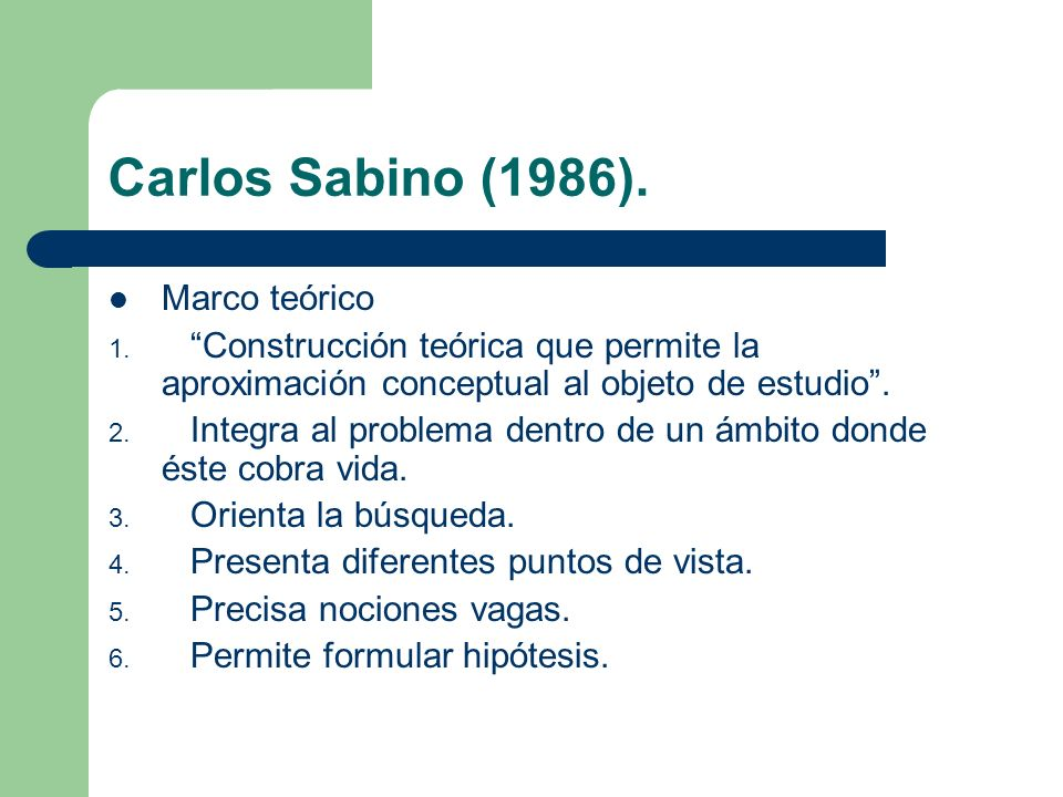 Carlos Sabino (1986). Marco teórico