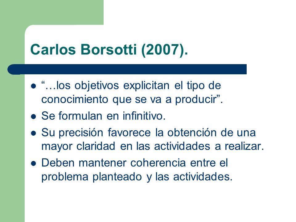 Carlos Borsotti (2007). …los objetivos explicitan el tipo de conocimiento que se va a producir . Se formulan en infinitivo.