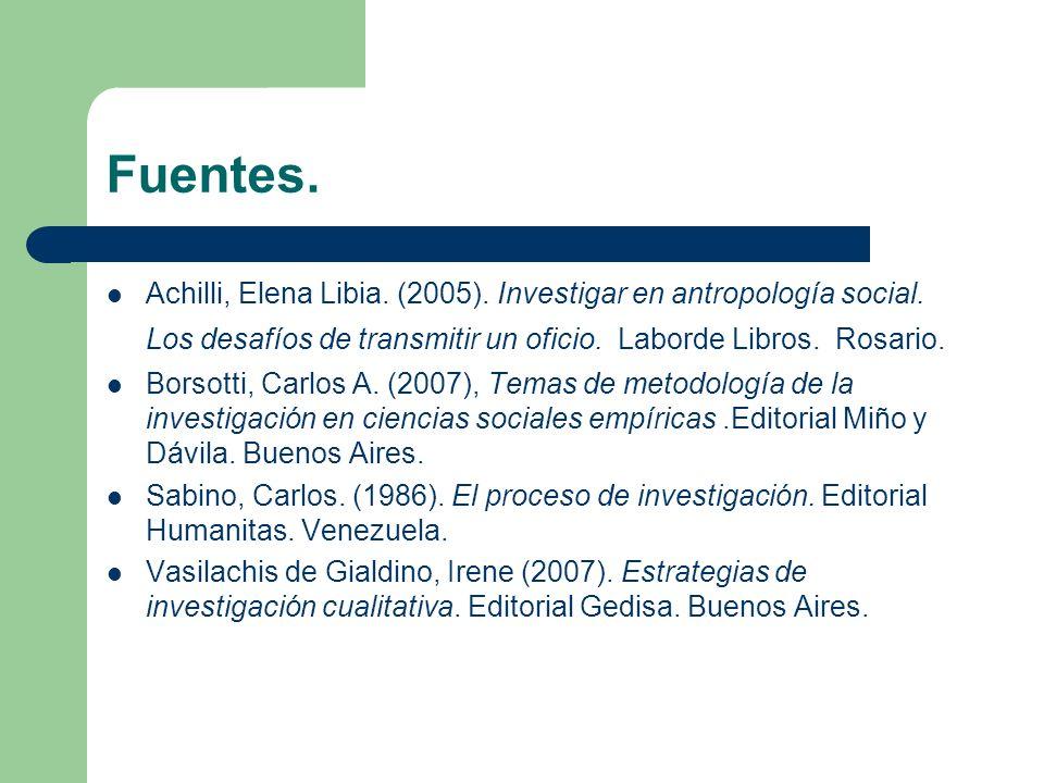 Fuentes. Achilli, Elena Libia. (2005). Investigar en antropología social. Los desafíos de transmitir un oficio. Laborde Libros. Rosario.