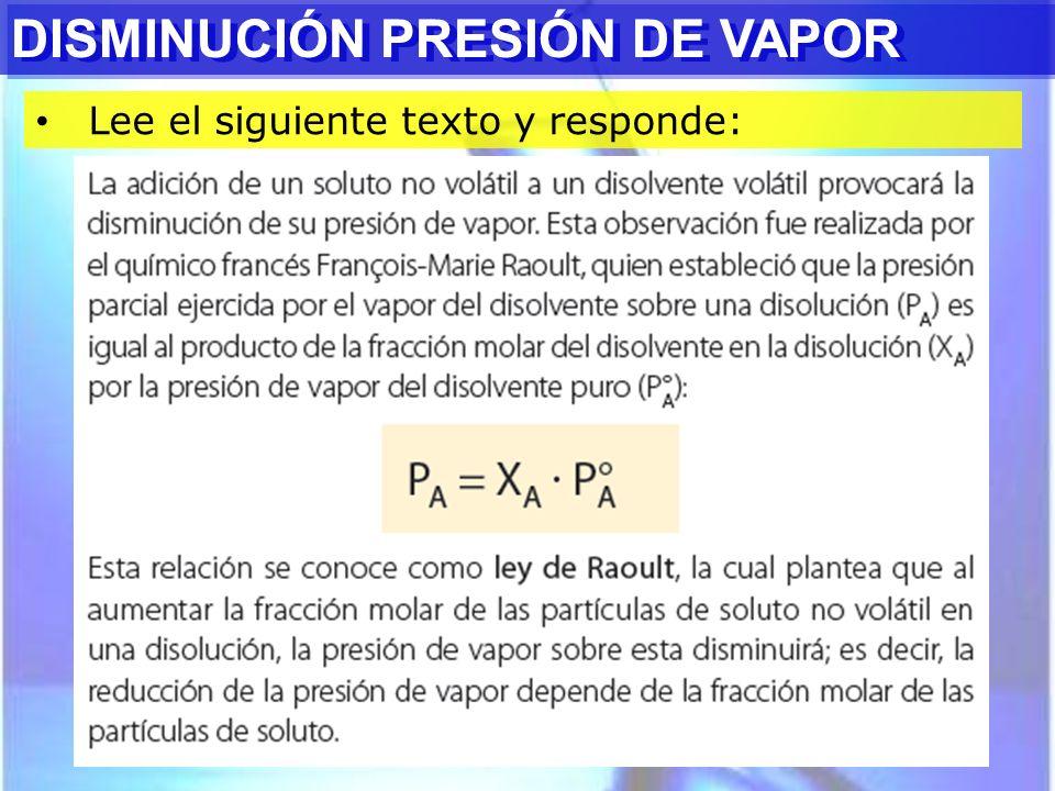 DISMINUCIÓN PRESIÓN DE VAPOR DISMINUCIÓN PRESIÓN DE VAPOR
