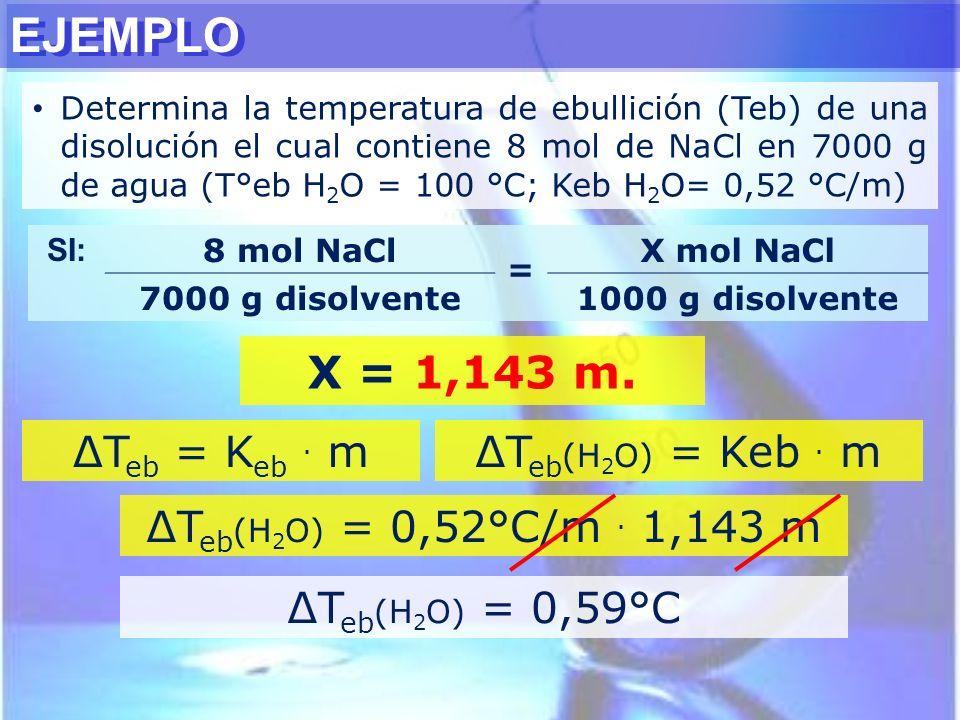 EJEMPLO X = 1,143 m. ∆Teb = Keb . m ∆Teb(H2O) = Keb . m