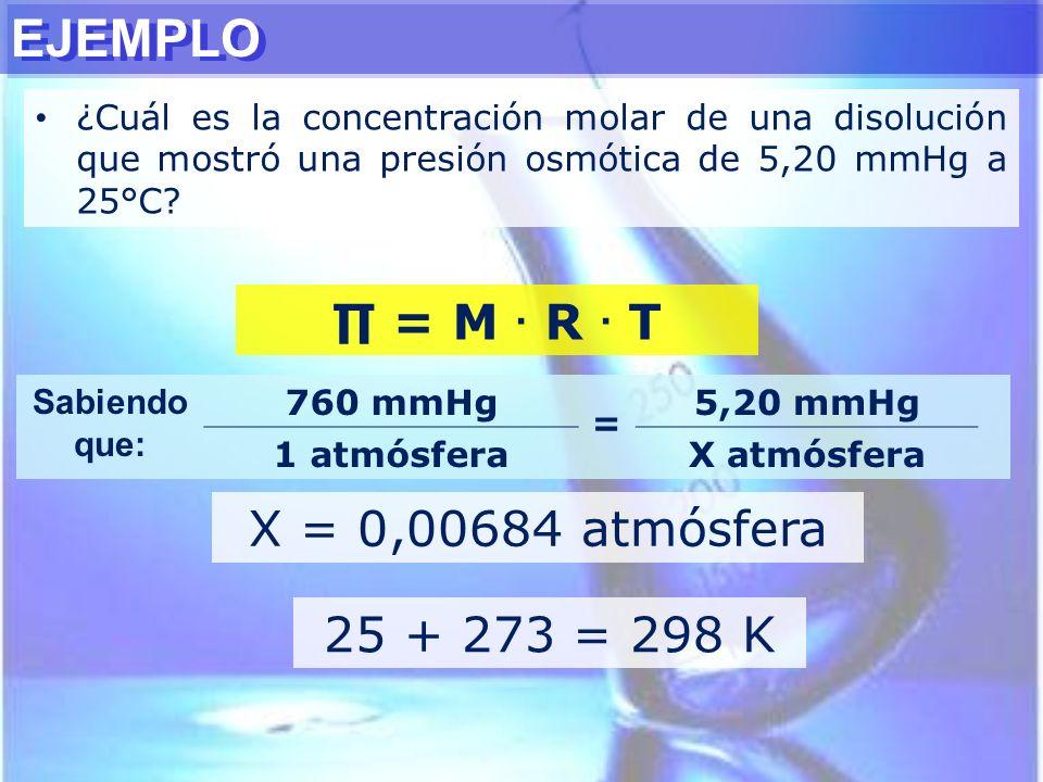 EJEMPLO ∏ = M . R . T X = 0,00684 atmósfera 25 + 273 = 298 K