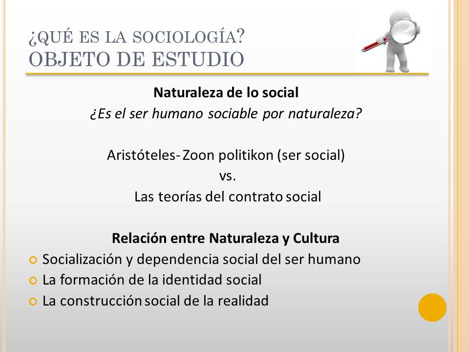 ¿qué es la sociología OBJETO DE ESTUDIO