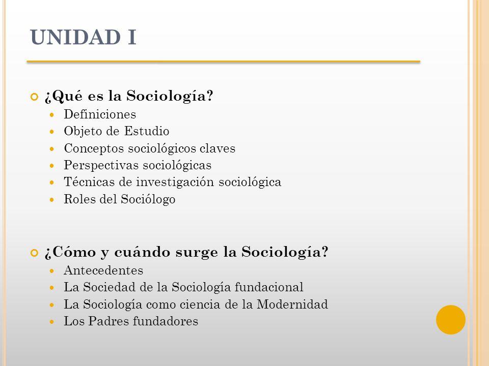 UNIDAD I ¿Qué es la Sociología ¿Cómo y cuándo surge la Sociología