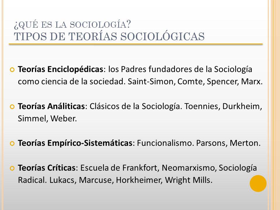¿qué es la sociología TIPOS DE TEORÍAS SOCIOLÓGICAS