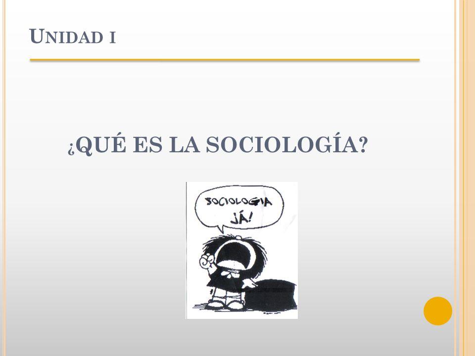 Unidad i ¿QUÉ ES LA SOCIOLOGÍA