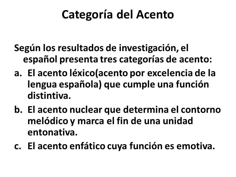 Categoría del Acento Según los resultados de investigación, el español presenta tres categorías de acento: