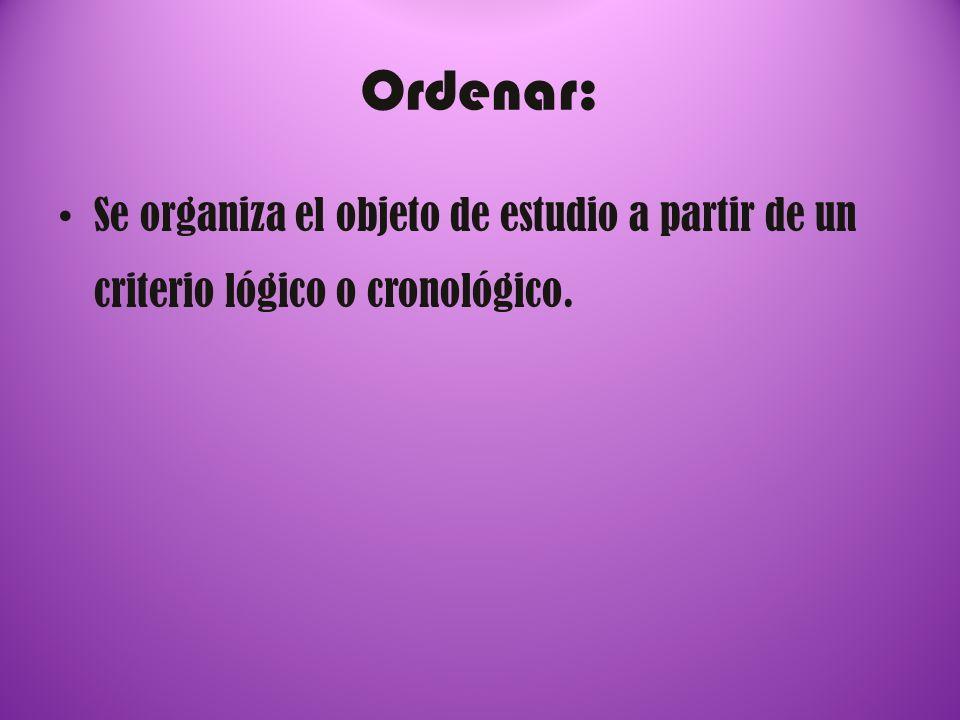 Ordenar: Se organiza el objeto de estudio a partir de un criterio lógico o cronológico.