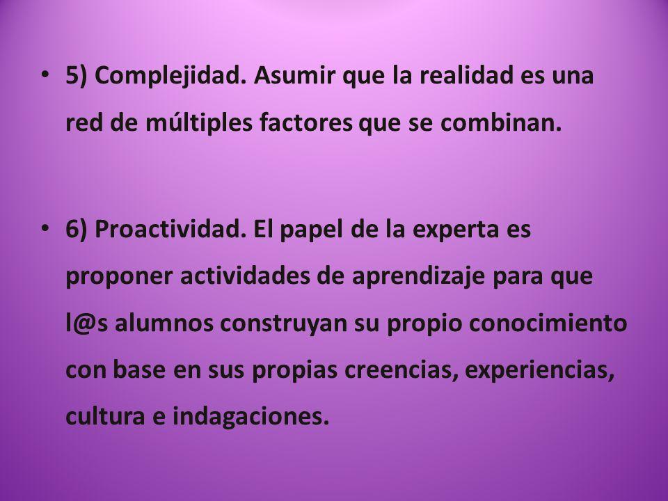 5) Complejidad. Asumir que la realidad es una red de múltiples factores que se combinan.