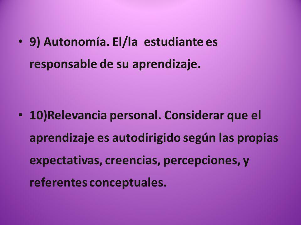 9) Autonomía. El/la estudiante es responsable de su aprendizaje.