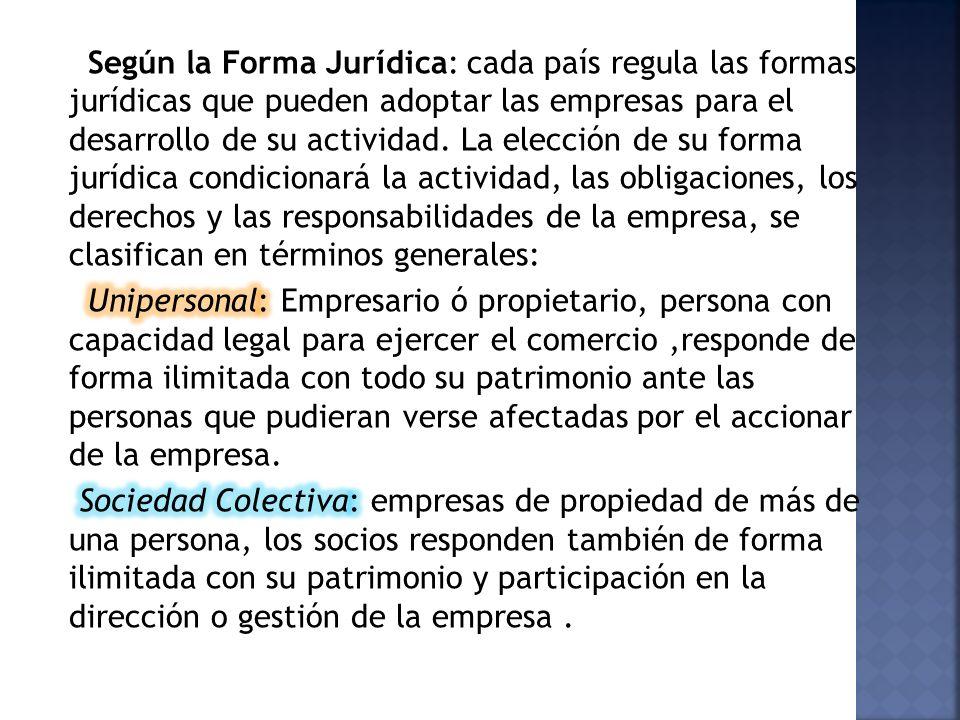 Según la Forma Jurídica: cada país regula las formas jurídicas que pueden adoptar las empresas para el desarrollo de su actividad.