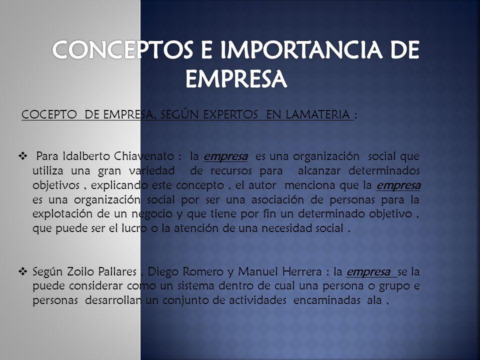 CONCEPTOS E IMPORTANCIA DE EMPRESA