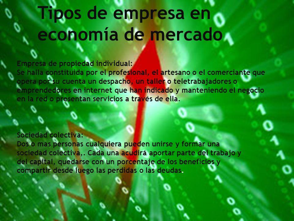 Tipos de empresas en economías de mercado:
