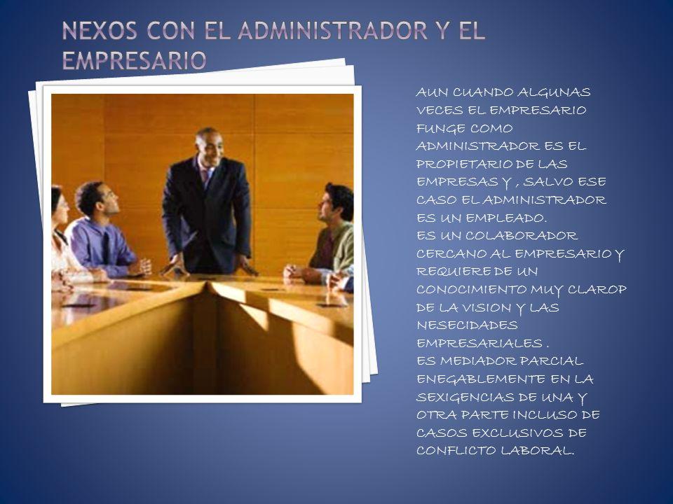 NEXOS CON EL ADMINISTRADOR Y EL EMPRESARIO
