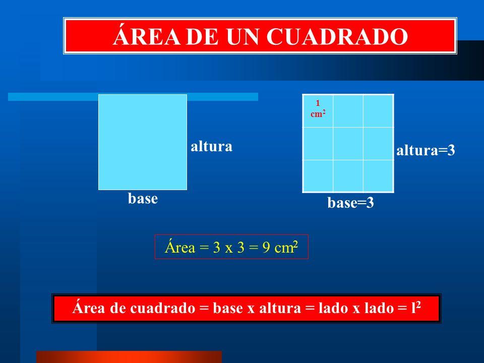 Área de cuadrado = base x altura = lado x lado = l2