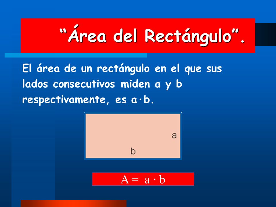Área del Rectángulo . A = a · b