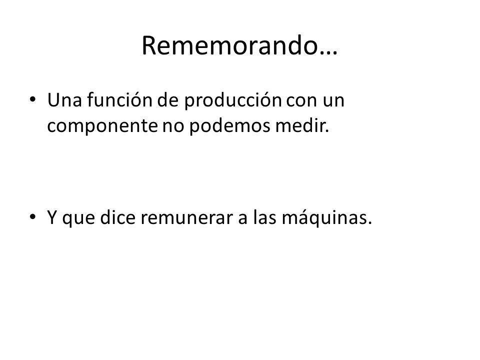 Rememorando… Una función de producción con un componente no podemos medir.
