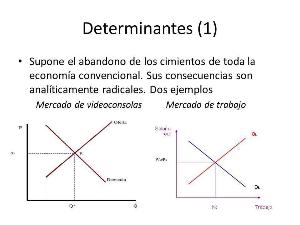 Determinantes (1) Supone el abandono de los cimientos de toda la economía convencional. Sus consecuencias son analíticamente radicales. Dos ejemplos.