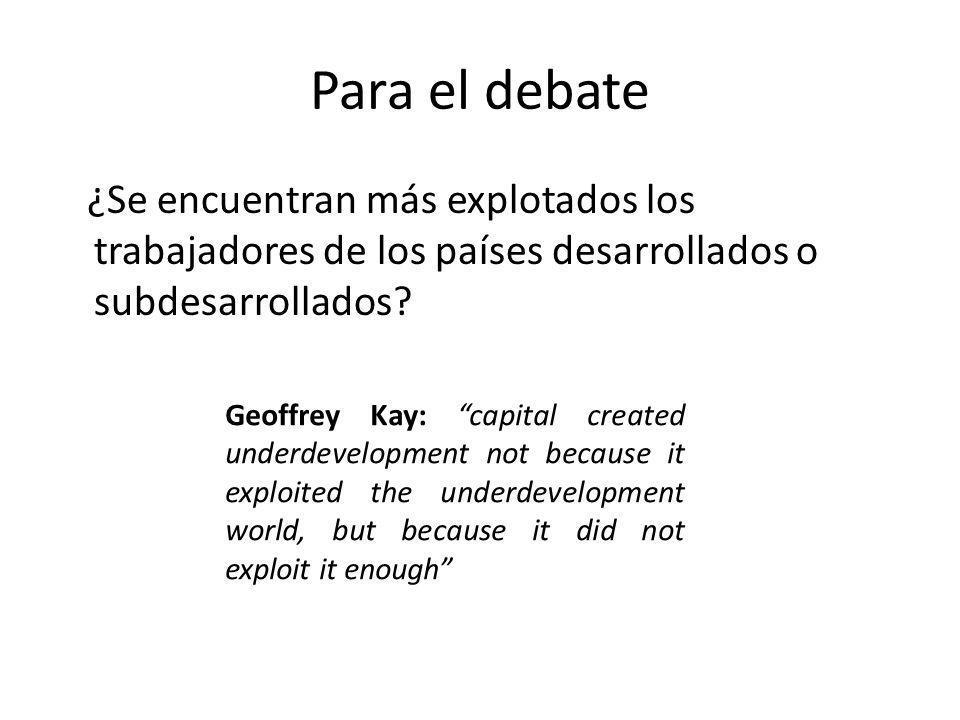 Para el debate ¿Se encuentran más explotados los trabajadores de los países desarrollados o subdesarrollados