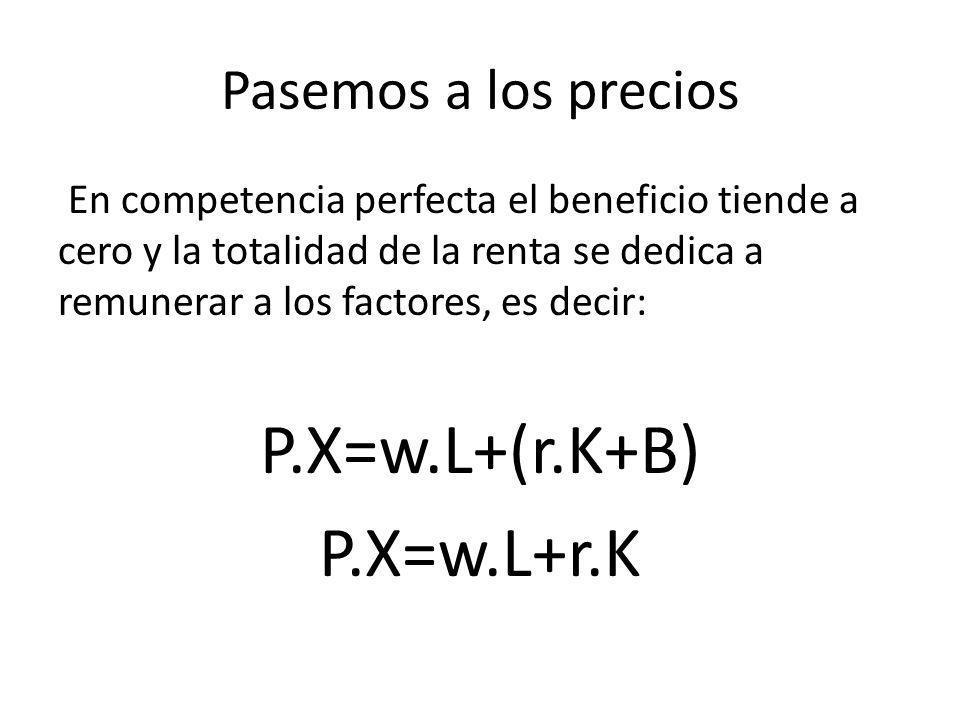 P.X=w.L+(r.K+B) P.X=w.L+r.K Pasemos a los precios