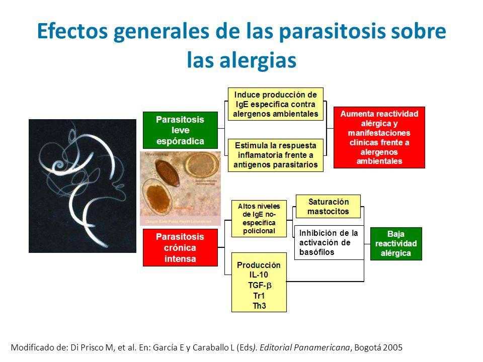 Efectos generales de las parasitosis sobre las alergias