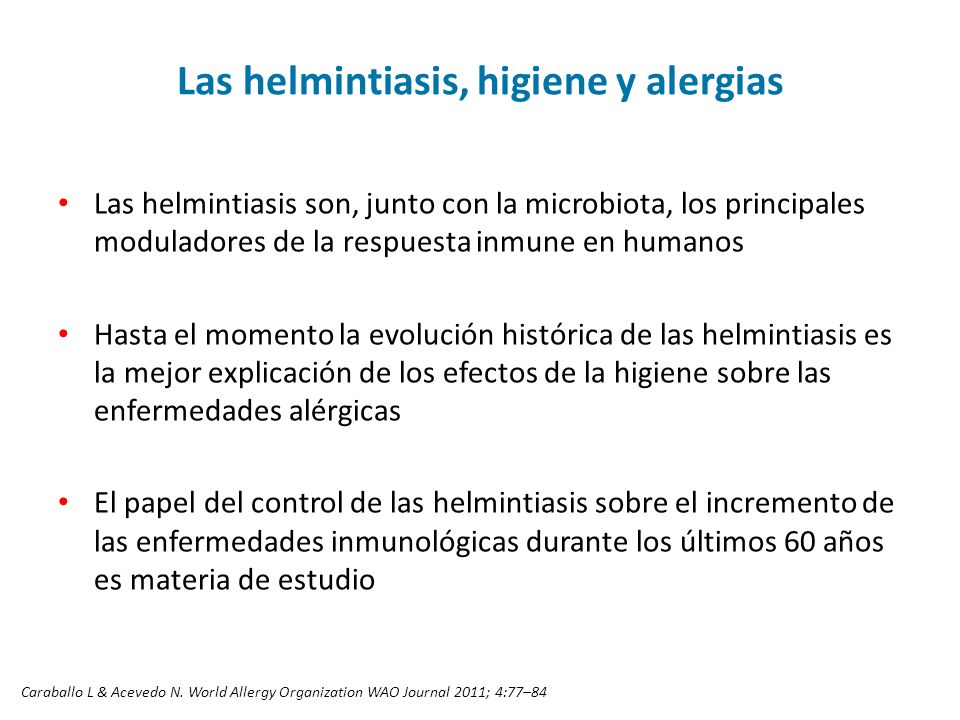 Las helmintiasis, higiene y alergias